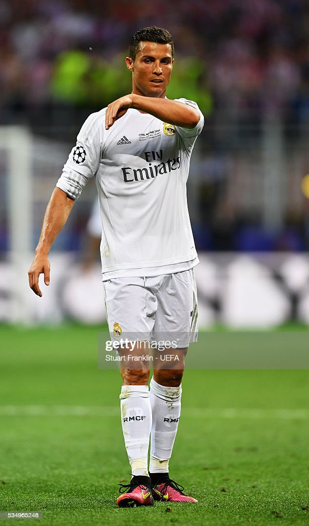 <a gi-track='captionPersonalityLinkClicked' href=/galleries/search?phrase=Cristiano+Ronaldo+-+Soccer+Player&family=editorial&specificpeople=162689 ng-click='$event.stopPropagation()'>Cristiano Ronaldo</a> of Real Madrid looks on during the UEFA Champions League Final between Real Madrid and Club Atletico de Madrid at Stadio Giuseppe Meazza on May 28, 2016 in Milan, Italy..