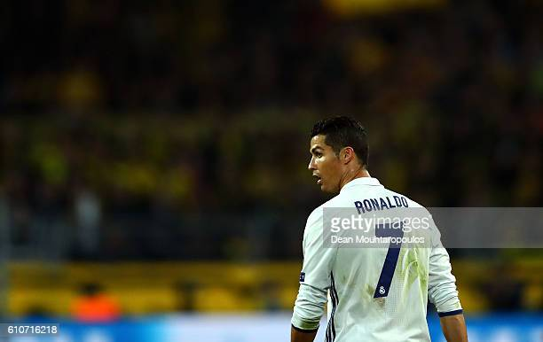 Cristiano Ronaldo of Real Madrid looks on during the UEFA Champions League Group F match between Borussia Dortmund and Real Madrid CF at Signal Iduna...