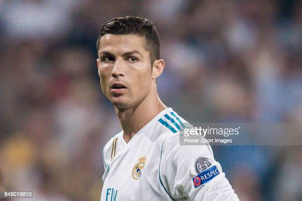 Cristiano Ronaldo of Real Madrid looks on during the UEFA Champions League 201718 match between Real Madrid and APOEL FC at Estadio Santiago Bernabeu...