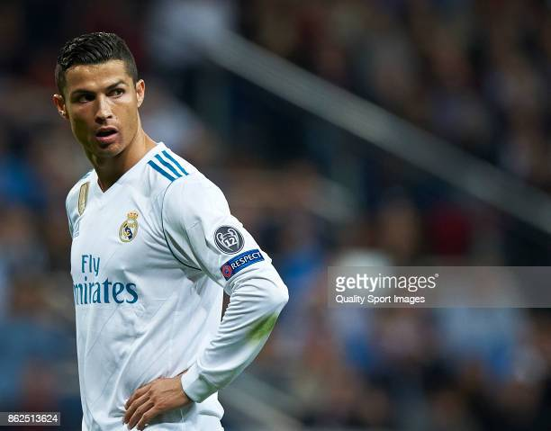 Cristiano Ronaldo of Real Madrid looks on during the UEFA Champions League group H match between Real Madrid and Tottenham Hotspur at Estadio...