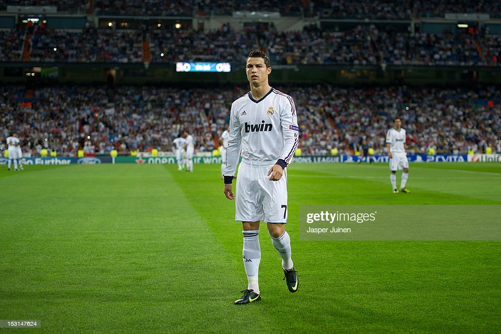 <a gi-track='captionPersonalityLinkClicked' href=/galleries/search?phrase=Cristiano+Ronaldo+-+Soccer+Player&family=editorial&specificpeople=162689 ng-click='$event.stopPropagation()'>Cristiano Ronaldo</a> of Real Madrid looks on prior to the start of the UEFA Champions League group D match between Real Madrid and Manchester City FC at the Estadio Santiago Bernabeu on September 18, 2012 in Madrid, Spain.