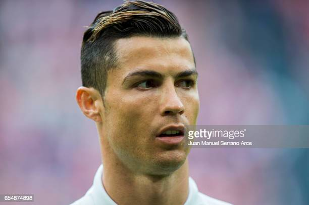 Cristiano Ronaldo of Real Madrid looks on prior to the start the La Liga match between Athletic Club Bilbao and Real Madrid at San Mames Stadium on...