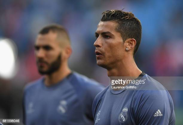 Cristiano Ronaldo of Real Madrid looks on prior to the UEFA Champions League Semi Final second leg match between Club Atletico de Madrid and Real...