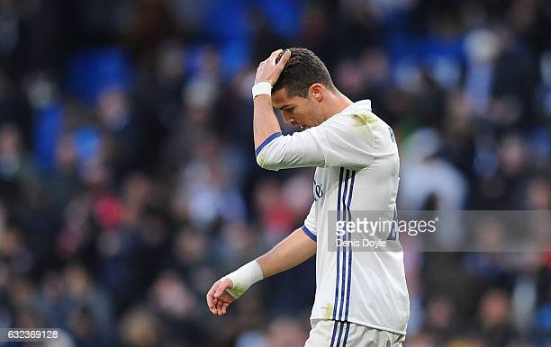 Cristiano Ronaldo of Real Madrid looks reacts during the La Liga match between Real Madrid CF and Malaga CF at the Bernabeu on January 21 2017 in...