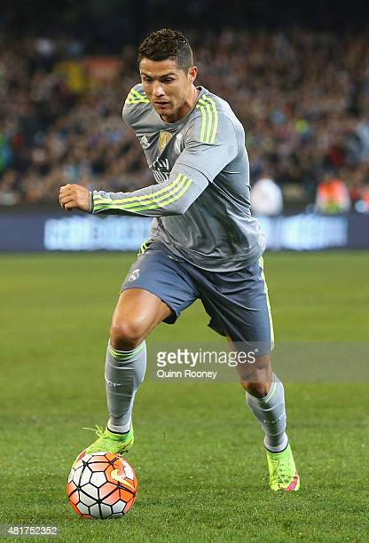 Cristiano Ronaldo of Real Madrid looks to pass the ball during the International Champions Cup match between Real Madrid and Manchester City at...