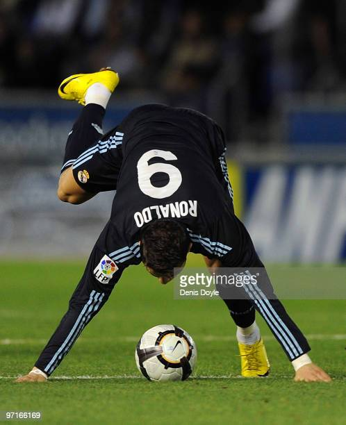 Cristiano Ronaldo of Real Madrid loses his balance during the La Liga match between Tenerife and Real Madrid at the Heliodoro Rodriguez Lopez stadium...
