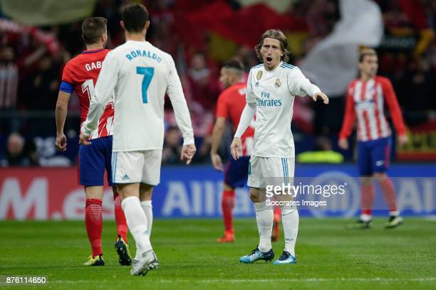 Cristiano Ronaldo of Real Madrid Luka Modric of Real Madrid during the Spanish Primera Division match between Atletico Madrid v Real Madrid at the...