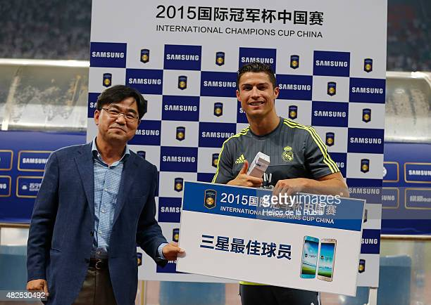 Cristiano Ronaldo of Real Madrid man on the match the International Champions Cup China match between Real Madrid and AC Milan at the Shanghai...