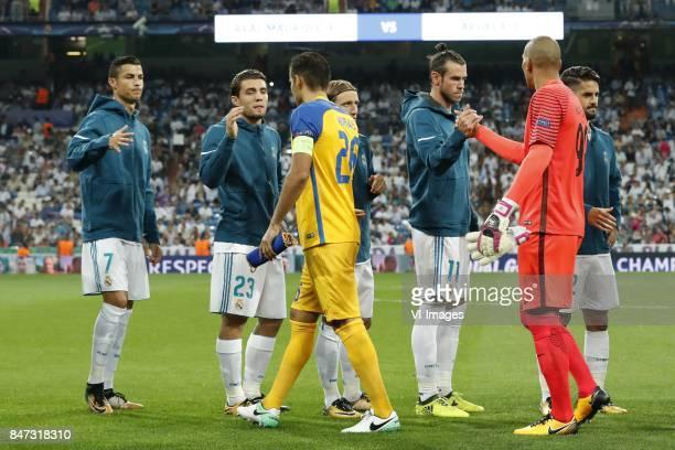 Cristiano Ronaldo of Real Madrid Mateo Kovacic of Real Madrid Nuno Morais of APOEL FC Luka Modric of Real Madrid Gareth Bale of Real Madrid...