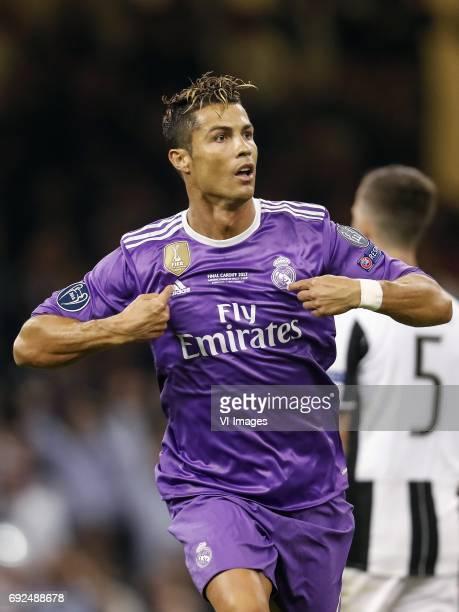 Cristiano Ronaldo of Real Madrid Miralem Pjanic of Juventus FCduring the UEFA Champions League final match between Juventus FC and Real Madrid on...