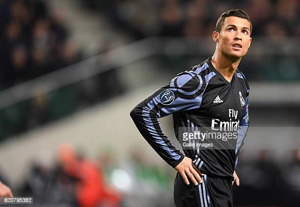 Cristiano Ronaldo of Real Madrid missed an opportunity to score a goal during the Group Stage of the UEFA Champions League match between Legia...