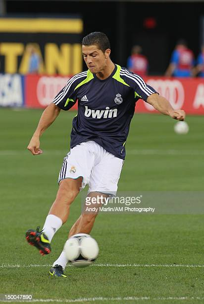 Cristiano Ronaldo of Real Madrid plays the ball during warmups prior to the game against AC Milan at Yankee Stadium on August 8 2012 in New York City