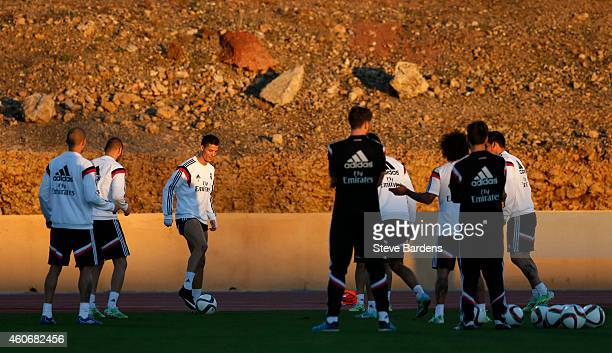 Cristiano Ronaldo of Real Madrid plays touch football with his team mates during a training session at Le Grande Stade de Marrakech on December 19...