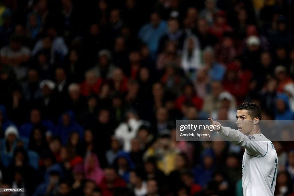 Cristiano Ronaldo of Real Madrid points a finger during the UEFA Champions League Group H match between Real Madrid and Tottenham at Santiago Bernabeu Stadium in Madrid on October 17, 2017.