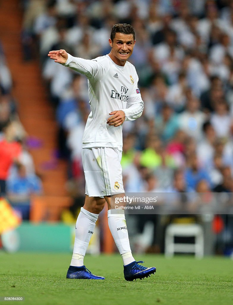 Cristiano Ronaldo of Real Madrid points during the UEFA Champions League Semi Final second leg match between Real Madrid and Manchester City FC at Estadio Santiago Bernabeu on May 4, 2016 in Madrid, Spain.
