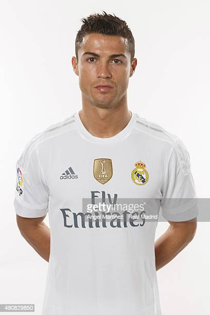 Cristiano Ronaldo of Real Madrid poses during the official portrait photocall at Valdebebas training ground on September 28 2015 in Madrid Spain