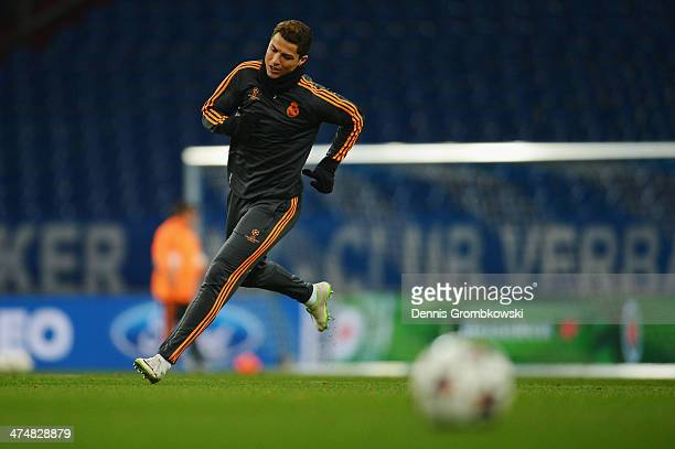 Cristiano Ronaldo of Real Madrid practices during a training session ahead of the Champions League match between FC Schalke 04 and Real Madrid at...