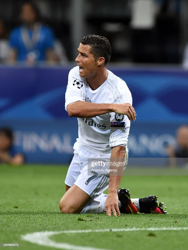 Cristiano Ronaldo of Real Madrid reacts after a tackle during the UEFA Champions League Final between Real Madrid CF and Atletico Madrid at the Giuseppe Meazza Stadium in Milan, Italy on May 28, 2016.