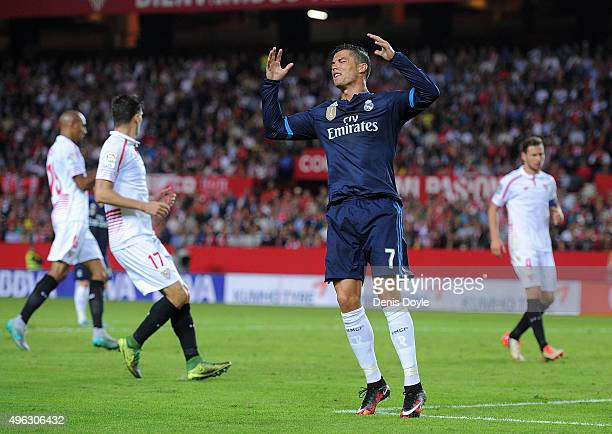 Cristiano Ronaldo of Real Madrid reacts after his shot at goal was saved during the La Liga match between Sevilla FC and Real Madrid CF at Estadio...