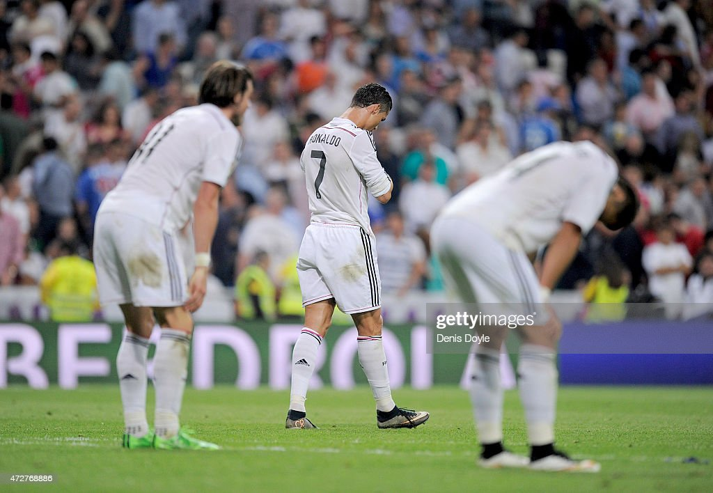 Cristiano Ronaldo of Real Madrid reacts after his team drew 2-2 against Vlaencia CF in the La Liga match between Real Madrid CF and Valencia CF at Estadio Santiago Bernabeu ended a 2-2 draw on May 9, 2015 in Madrid, Spain.
