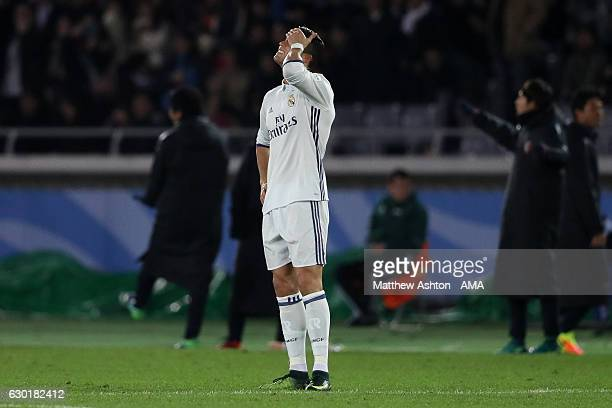 Cristiano Ronaldo of Real Madrid reacts after Kashima Antlers scored their second goal to make the score 12 during the FIFA Club World Cup final...