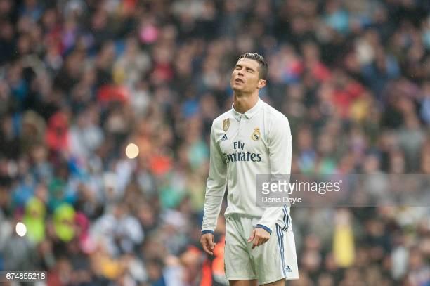 Cristiano Ronaldo of Real Madrid reacts after missing a penalty kick during the La Liga match between Real Madrid CF and Valencia CF at Estadio...