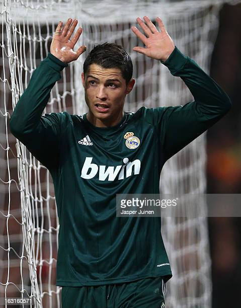 Cristiano Ronaldo of Real Madrid reacts after scoring his team's second goal during the UEFA Champions League Round of 16 Second leg match between...
