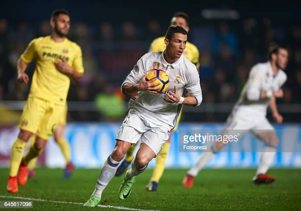 Cristiano Ronaldo of Real Madrid reacts after scoring the second goal during the La Liga match between Villarreal CF and Real Madrid at Estadio de la...