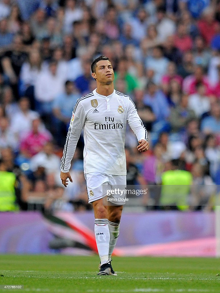 Cristiano Ronaldo of Real Madrid reacts after Valencia CF scored their 2nd goal during the La Liga match between Real Madrid CF and Valencia CF at Estadio Santiago Bernabeu on May 9, 2015 in Madrid, Spain.