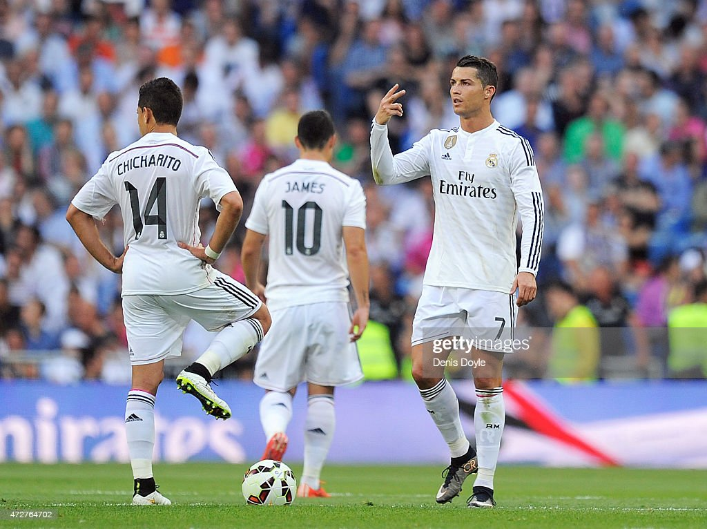 Cristiano Ronaldo of Real Madrid reacts after Valencia CF scored their second goal during the La Liga match between Real Madrid CF and Valencia CF at Estadio Santiago Bernabeu on May 9, 2015 in Madrid, Spain.