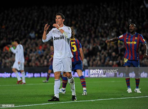 Cristiano Ronaldo of Real Madrid reacts as he fails to score during the La Liga match between Barcelona and Real Madrid at the Camp Nou Stadium on...