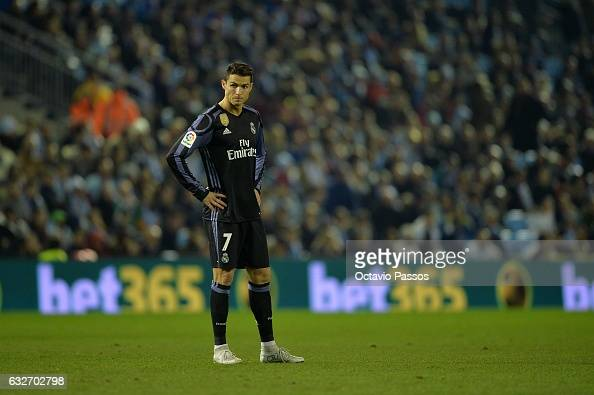 Cristiano Ronaldo of Real Madrid reacts during the Copa del Rey quarterfinal second leg match between Real Club Celta de Vigo and Real Madrid Club de...