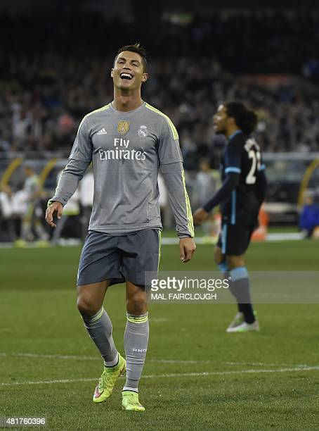 Cristiano Ronaldo of Real Madrid reacts during the International Champions Cup football match between English Premier League team Manchester City and...