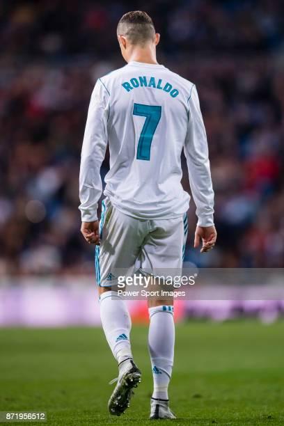 Cristiano Ronaldo of Real Madrid reacts during the La Liga 201718 match between Real Madrid and UD Las Palmas at Estadio Santiago Bernabeu on...