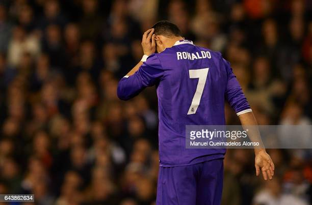 Cristiano Ronaldo of Real Madrid reacts during the La Liga match between Valencia CF and Real Madrid at Mestalla Stadium on February 22 2017 in...