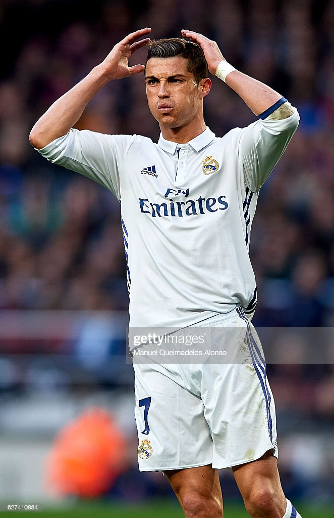 Cristiano Ronaldo of Real Madrid reacts during the La Liga match between FC Barcelona and Real Madrid CF at Camp Nou stadium on December 03 2016 in...