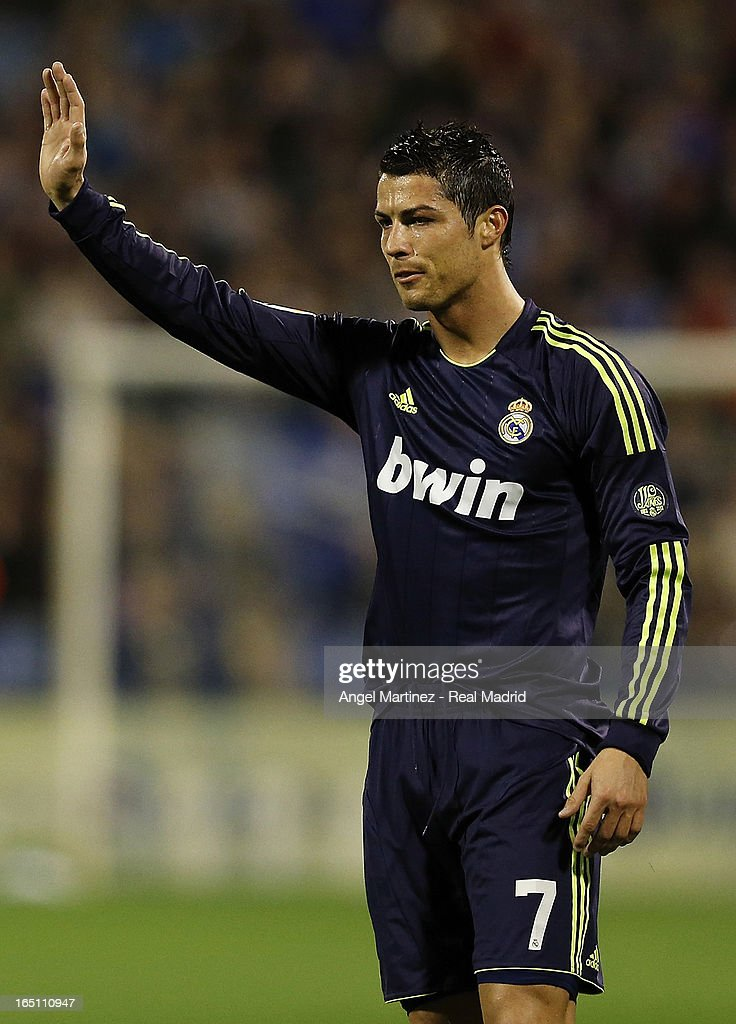 <a gi-track='captionPersonalityLinkClicked' href=/galleries/search?phrase=Cristiano+Ronaldo+-+Soccer+Player&family=editorial&specificpeople=162689 ng-click='$event.stopPropagation()'>Cristiano Ronaldo</a> of Real Madrid reacts during the La Liga match between Real Zaragoza and Real Madrid at La Romareda on March 30, 2013 in Zaragoza, Spain.
