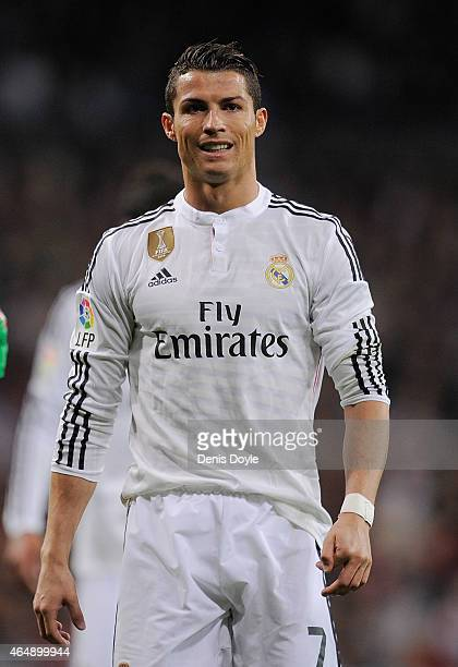 Cristiano Ronaldo of Real Madrid reacts during the La Liga match between Real Madrid and Villarreal at Estadio Santiago Bernabeu on March 1 2015 in...