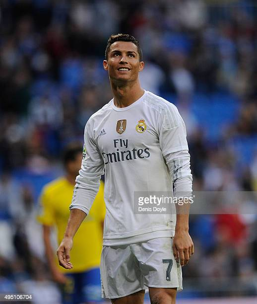 Cristiano Ronaldo of Real Madrid reacts during the La Liga match between Real Madrid CF and UD Las Palmas at Estadio Santiago Bernabeu on October 31...