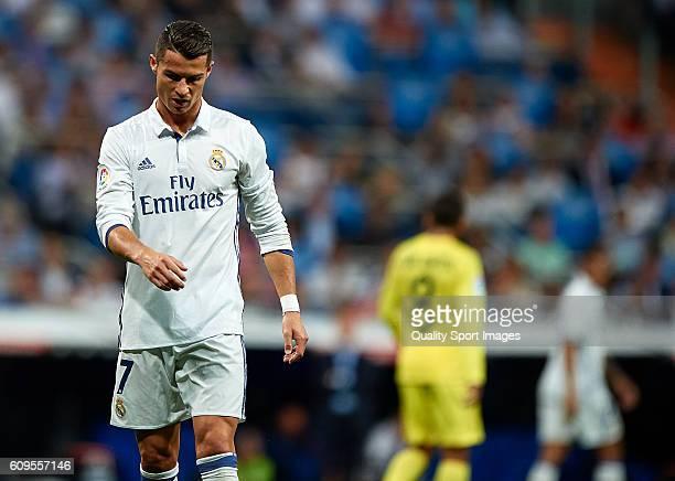 Cristiano Ronaldo of Real Madrid reacts during the La Liga match between Real Madrid CF and Villarreal CF at Estadio Santiago Bernabeu on September...