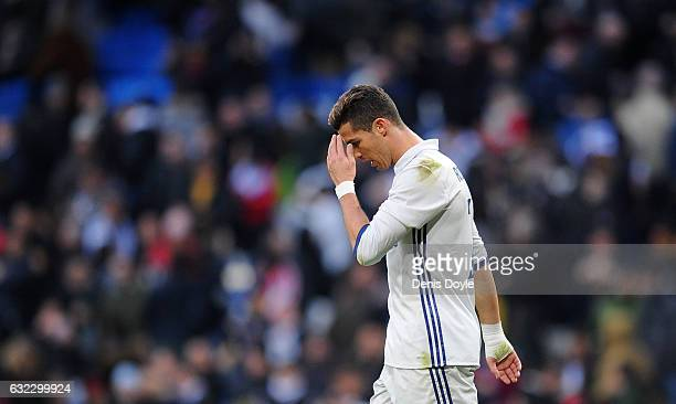 Cristiano Ronaldo of Real Madrid reacts during the La Liga match between Real Madrid CF and Malaga CF at the Bernabeu on January 21 2017 in Madrid...
