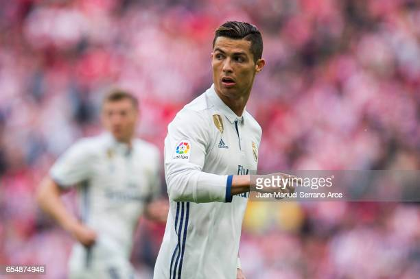 Cristiano Ronaldo of Real Madrid reacts during the La Liga match between Athletic Club Bilbao and Real Madrid at San Mames Stadium on March 18 2017...