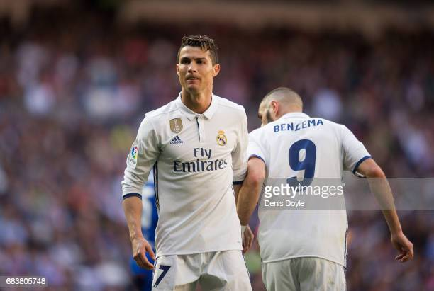 Cristiano Ronaldo of Real Madrid reacts during the La Liga match between Real Madrid CF and Deportivo Alaves on April 2 2017 in Madrid Spain