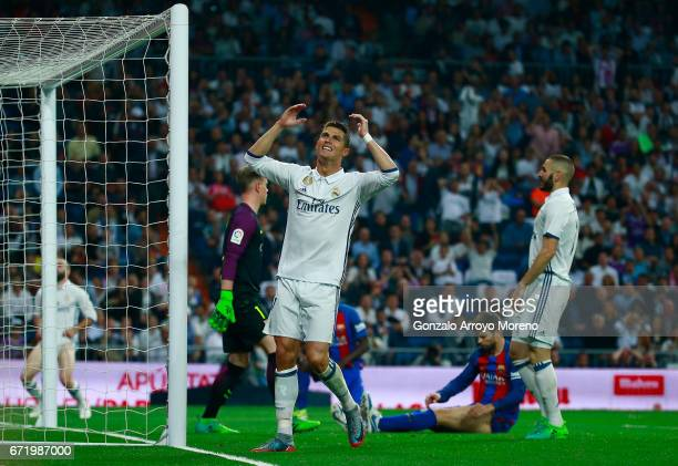 Cristiano Ronaldo of Real Madrid reacts during the La Liga match between Real Madrid CF and FC Barcelona at Estadio Bernabeu on April 23 2017 in...