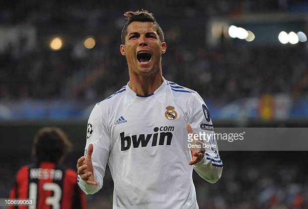 Cristiano Ronaldo of Real Madrid reacts during the UEFA Champions League Group G match between Real Madrid and AC Milan at Estadio Santiago Bernabeu...
