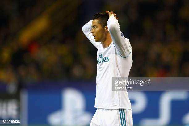 Cristiano Ronaldo of Real Madrid reacts during the UEFA Champions League group H match between Borussia Dortmund and Real Madrid at Signal Iduna Park...