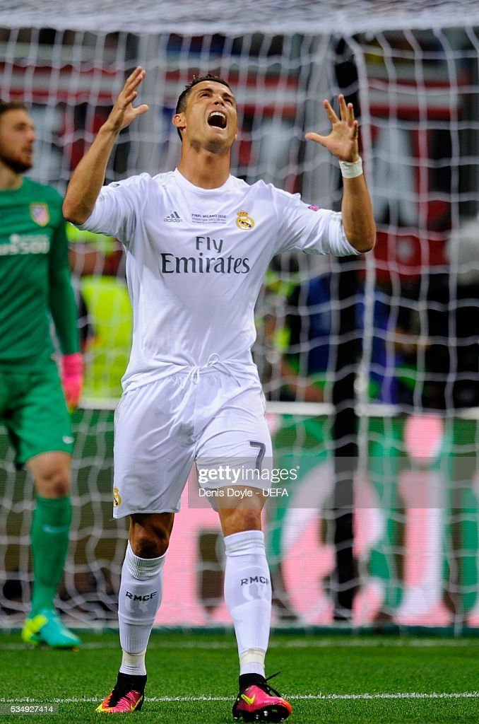 <a gi-track='captionPersonalityLinkClicked' href=/galleries/search?phrase=Cristiano+Ronaldo+-+Footballeur+portuguais&family=editorial&specificpeople=162689 ng-click='$event.stopPropagation()'>Cristiano Ronaldo</a> of Real Madrid reacts during the UEFA Champions League Final between Real Madrid and Club Atletico de Madrid at Stadio Giuseppe Meazza on May 28, 2016 in Milan, Italy.