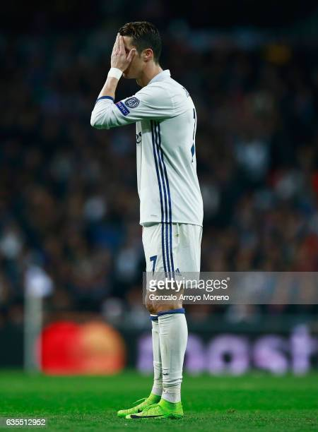 Cristiano Ronaldo of Real Madrid reacts during the UEFA Champions League Round of 16 first leg match between Real Madrid CF and SSC Napoli at Estadio...