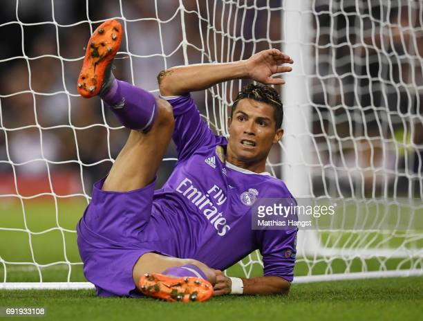 Cristiano Ronaldo of Real Madrid reacts during the UEFA Champions League Final between Juventus and Real Madrid at National Stadium of Wales on June...