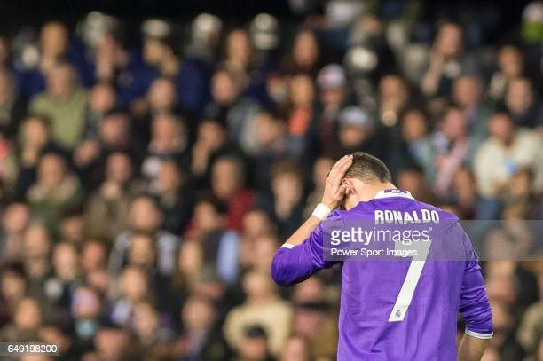 Cristiano Ronaldo of Real Madrid reacts during their La Liga match between Valencia CF and Real Madrid at the Estadio de Mestalla on 22 February 2017...